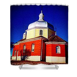 The Red Church Shower Curtain