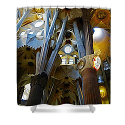 Artistic Achitecture Within The Sagrada Familia In Barcelona Shower Curtain by Richard Rosenshein