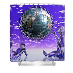 3d Aliens With Caged Earth Shower Curtain