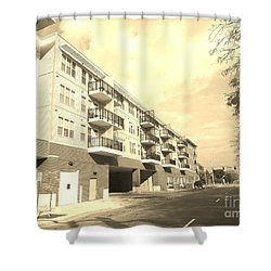 3rd Street Columbus Indiana - Sepia Shower Curtain by Scott D Van Osdol