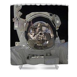 Astronaut Uses A Digital Still Camera Shower Curtain by Stocktrek Images