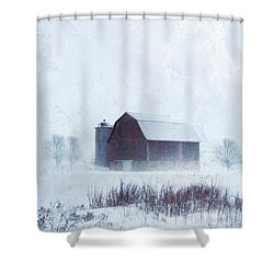 Barn In Winter Shower Curtain by Jill Battaglia