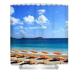 Beach Umbrellas Shower Curtain by Catie Canetti