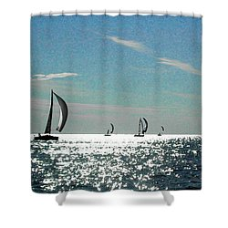 4 Boats On The Horizon Shower Curtain