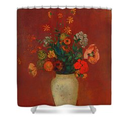 Shower Curtain featuring the painting Bouquet In A Chinese Vase by Odilon Redon