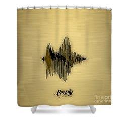 Breathe Spoken Soundwave Shower Curtain by Marvin Blaine