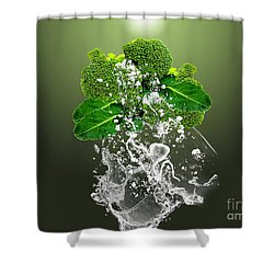 Broccoli Splash Shower Curtain by Marvin Blaine