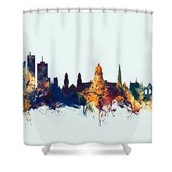 Shower Curtain featuring the digital art Brussels Belgium Skyline by Michael Tompsett
