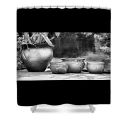 4 Ceramic Pots In Black And White Shower Curtain