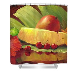 4 Cherries Shower Curtain by Laurie Hein