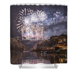 Clifton Suspension Bridge Fireworks Shower Curtain