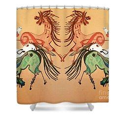 Dancing Musical Horses Shower Curtain by Scott D Van Osdol