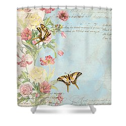 Fleurs De Pivoine - Watercolor W Butterflies In A French Vintage Wallpaper Style Shower Curtain
