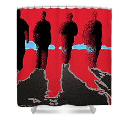 Shower Curtain featuring the drawing 4 Friends Walking Into The Sun by Robert Margetts