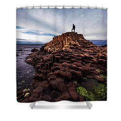 Man Atop Giant's Causeway Shower Curtain