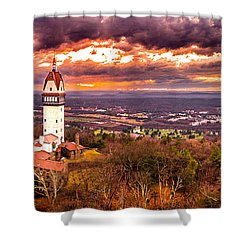 Heublein Tower, Simsbury Connecticut, Cloudy Sunset Shower Curtain by Petr Hejl