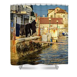 Kastel Gomilica Fishing Castle In Kastela, Free City Of Braavos In Game Of Thrones, Split, Croatia Shower Curtain