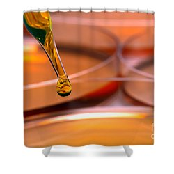Laboratory Petri Dishes In Science Research Lab Shower Curtain by Olivier Le Queinec