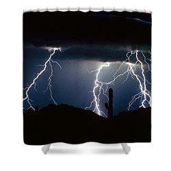 4 Lightning Bolts Fine Art Photography Print Shower Curtain