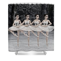 Shower Curtain featuring the digital art 4 Little Swans by Methune Hively