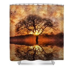 Shower Curtain featuring the digital art Lone Tree by Ian Mitchell