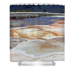 Mammoth Hot Springs Upper Terraces In Yellowstone National Park Shower Curtain by Louise Heusinkveld