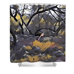 Morning Walk Trees Shower Curtain