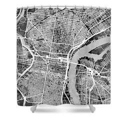 Philadelphia Pennsylvania Street Map Shower Curtain by Michael Tompsett