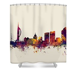 Portsmouth England Skyline Shower Curtain