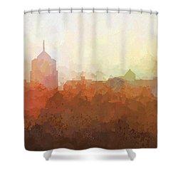 Shower Curtain featuring the digital art Roanoke Virginia Skyline by Marlene Watson