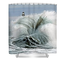 Shower Curtain featuring the photograph Roker Pier Sunderland by Morag Bates