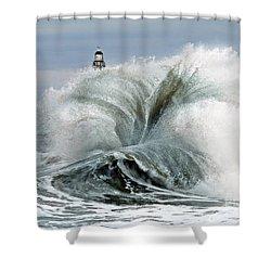 Roker Pier Sunderland Shower Curtain by Morag Bates