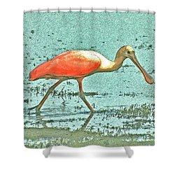 Shower Curtain featuring the digital art 4- Roseate Spoonbill by Joseph Keane