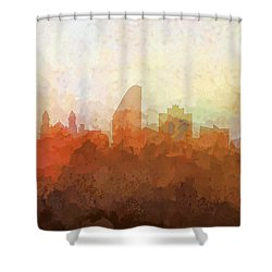 Shower Curtain featuring the digital art San Jose California Skyline by Marlene Watson