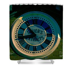 Shower Curtain featuring the photograph Sauer Clock by Melissa Messick