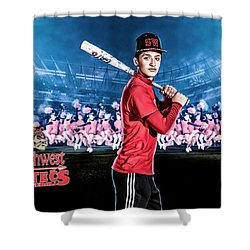 Shower Curtain featuring the digital art Southwest Aztecs Baseball Organization by Nicholas Grunas