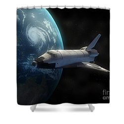 Space Shuttle Backdropped Against Earth Shower Curtain by Carbon Lotus