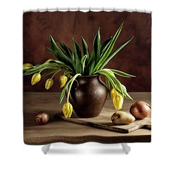 Still Life With Tulips Shower Curtain by Nailia Schwarz