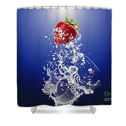 Strawberry Splash Shower Curtain by Marvin Blaine