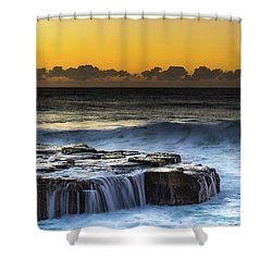 Sunrise Seascape With Cascades Over The Rock Ledge Shower Curtain