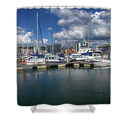 Sutton Harbour Plymouth Shower Curtain by Chris Day