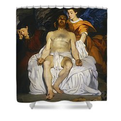 Shower Curtain featuring the painting The Dead Christ With Angels by Edouard Manet