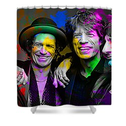 Shower Curtain featuring the digital art The Rolling Stones by Marvin Blaine