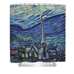 The Starry Night Shower Curtain by Vincent Van Gogh