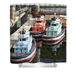 4 Toy Boats Shower Curtain