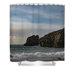 Shower Curtain featuring the photograph Trevellas Cove Cornwall by Brian Roscorla