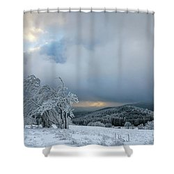 Typical Snowy Landscape In Ore Mountains, Czech Republic. Shower Curtain