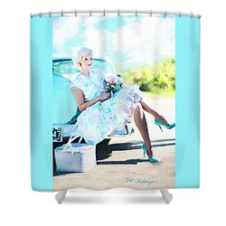 Vintage Val In The Turquoise Vintage Car Shower Curtain