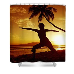 Yoga At Sunset Shower Curtain by Ron Dahlquist - Printscapes