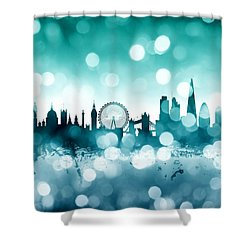 London England Skyline Shower Curtain by Michael Tompsett